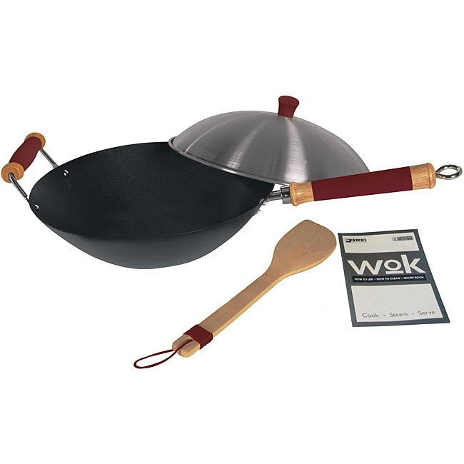 'Easy-Grip' Professional Red Non-Stick 4-Piece Wok Set