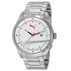 Puma Men's White Striped Metal Watch
