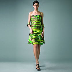 Issue New York Women's Green Animal Strapless Dress