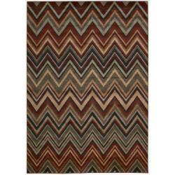 Nourison Vogue Casual Polypropylene Multicolor Geometric Rug ( 5'3 x 7' )