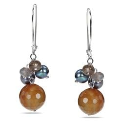 Miadora Sterling Silver Multi-gemstone and Pearl Earrings (6-7.5 mm)