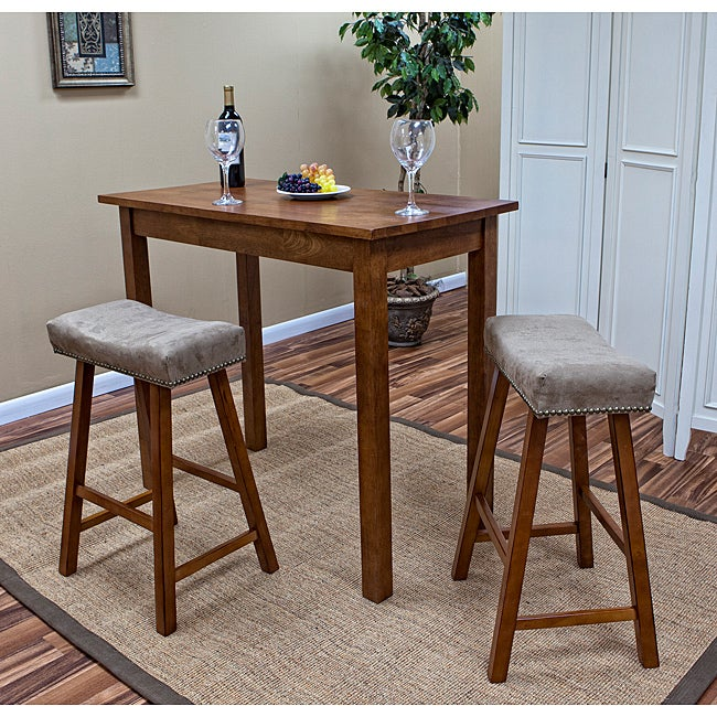 Walnut Florence 24-Inch Counter Stool with Mocha Upholstered Seat