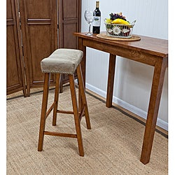 30-Inch Walnut Florence Bar Stool with Chamios Upholstered Seat