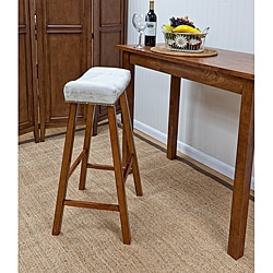 Walnut Florence 30-inch Bar Stool with Chamios Upholstered Seat