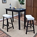 Antique Black 24-Inch Florence Counter Stool with Chamois Upholstered Seat