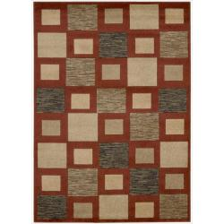 Nourison Vogue Burgundy Geometric Rug  ( 5'3 x 7' )
