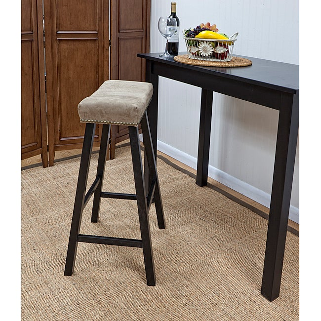 Antique Black 30-Inch Florence Bar Stool with Mocha Upholstered Seat