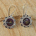 Handcrafted Sterling Silver Mystic Topaz Bali Filigree Earrings (Indonesia)