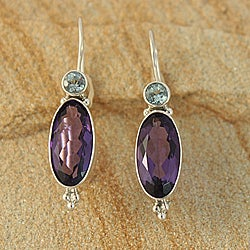 Handcrafted Sterling Silver Amethyst and Blue Topaz Earrings (Indonesia)