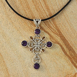 Handcrafted Sterling Silver Amethyst and Citrine Bali Necklace (Indonesia)
