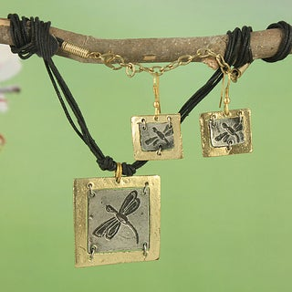 Handcrafted Brass Dragonfly Earring and Necklace Set (India)