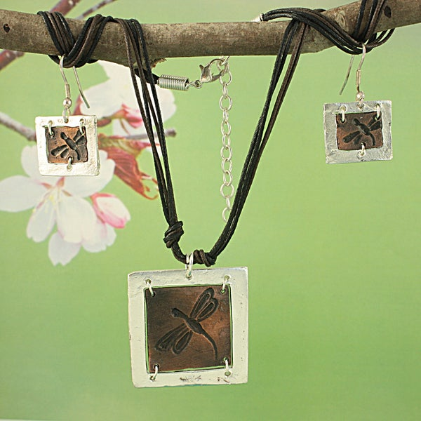 Handcrafted Copper Dragonfly Earring and Necklace Set (India)