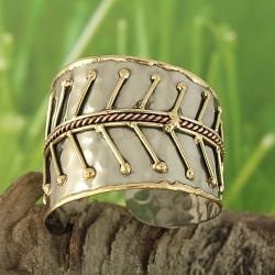 Brass and Copper Graduated Leaves Cuff Bracelet (India)