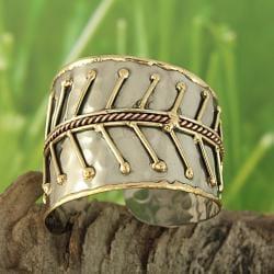 Brass and Copper Graduated Leaves Cuff Bracelet (India)