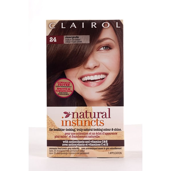 Clairol Natural Instincts #24 Clove Medium Ash Brown Hair Color (Pack of 4)