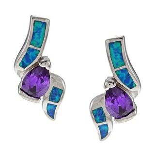 La Preciosa Sterling Silver Purple CZ and Created Blue Opal Earrings