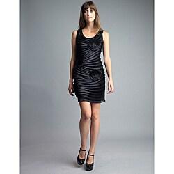 Issue New York Women's Black Beaded Sunburst Floral Applique Dress