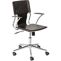 Terry Brown Leatherette Chrome Office Chair