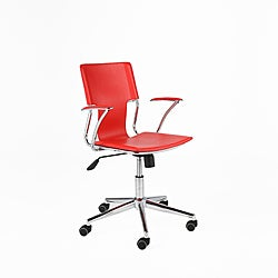 Terry Red Leatherette Chrome Modern Office Chair