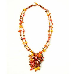Tiger's Eye and Coral 'Roxana' Bead Necklace (Guatemala)