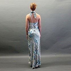 Issue New York Women's Silk Printed Halter Gown