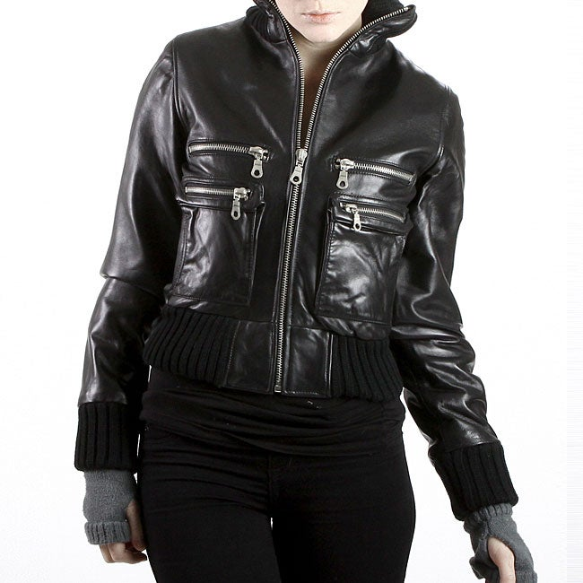 United Face Womens Black Lambskin Leather Bomber Jacket