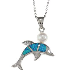 La Preciosa Sterling Silver Created Blue Opal and Shell Pearl Dolphin Necklace
