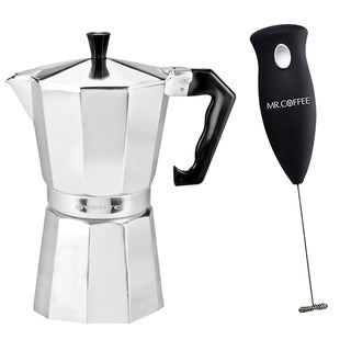 Ovente 3-cup Polished Aluminum Stove-top Espresso Maker with Mr. Coffee Milk Frother