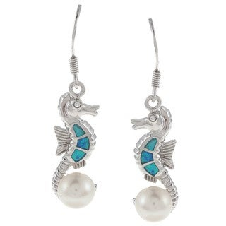 La Preciosa Sterling Silver Faux Pearl, CZ and Created Blue Opal Earrings