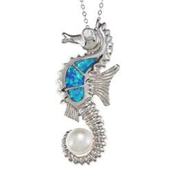 La Preciosa Silver Created Blue Opal/ Pearl/ CZ Seahorse Necklace