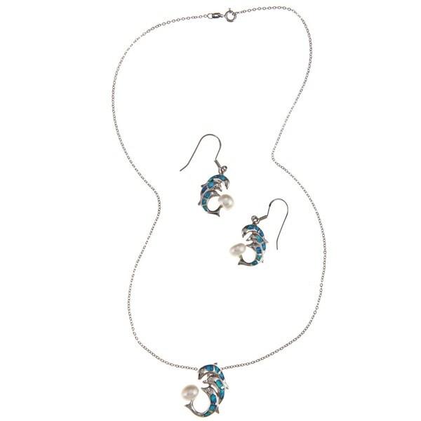La Preciosa Silver Created Blue Opal and Faux Pearl Dolphin Jewelry Set