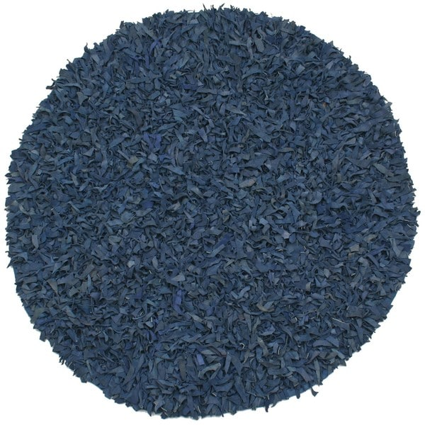 Hand-tied Pelle Blue Leather Shag Rug (4' Round)