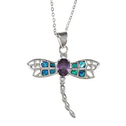 La Preciosa Silver Purple CZ and Created Blue Opal Dragonfly Necklace