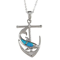 La Preciosa Silver Created Blue Opal and CZ Dolphin and Anchor Necklace
