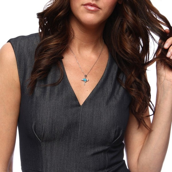 La Preciosa Sterling Silver Created Blue Opal and CZ Turtle Necklace