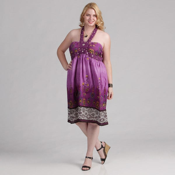 Meetu Magic Women's Plus Size Floral Halter Dress