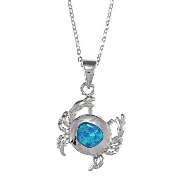 La Preciosa Sterling Silver Created Blue Opal Crab Necklace