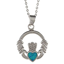 La Preciosa Sterling Silver Created Blue Opal Irish Claddagh Necklace
