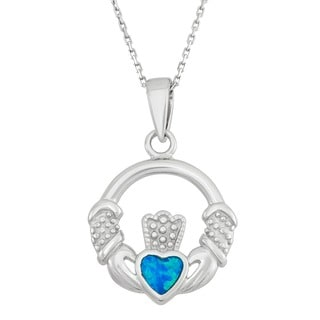 La Preciosa Sterling Silver Created Blue Opal Irish Claddagh Necklace