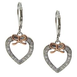 Rose-plated Sterling Silver Cubic Zirconia Bow Heart Earrings