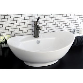 Oval Vitreous China White Bathroom Vessel Sink