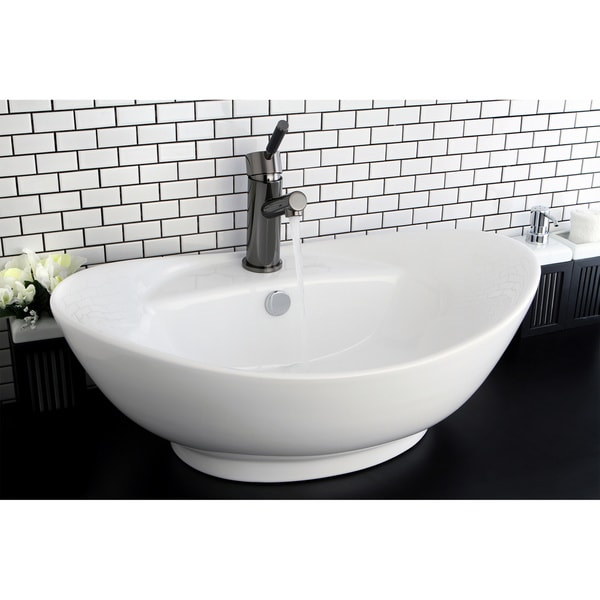China Sink : Oval Vitreous China White Bathroom Vessel Sink - 14098921 - Overstock ...