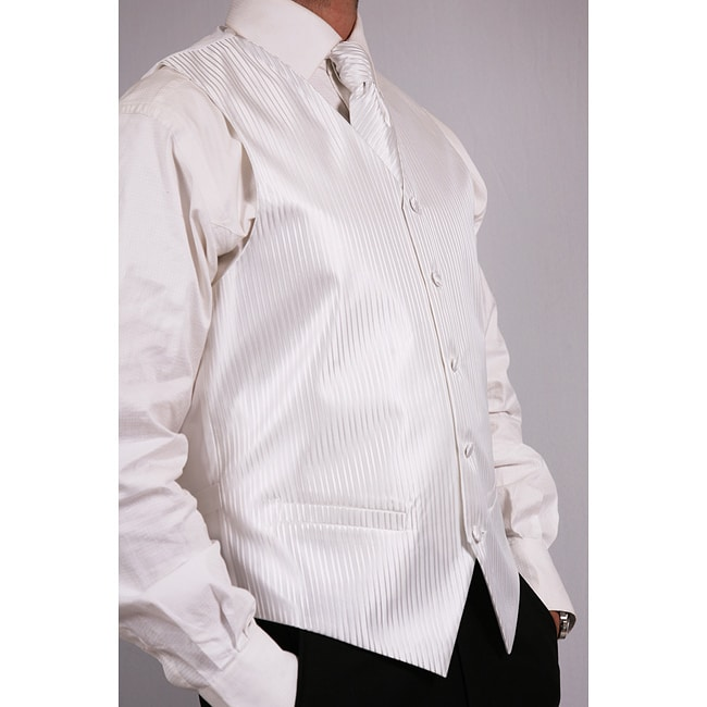 Ferrecci Men's White Four-piece Vest Set