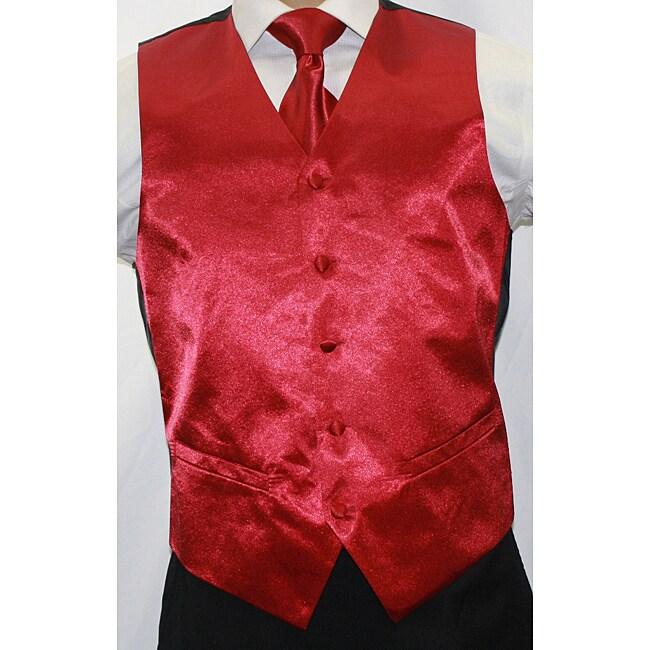 Ferrecci Men's Shiny Burgundy Microfiber 3-piece Vest