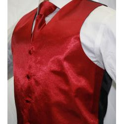 Ferrecci Men's Shiny Burgundy Microfiber 3-piece Vest