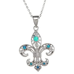 La Preciosa Sterling Silver Created Blue Opal Fleur de Lis Necklace