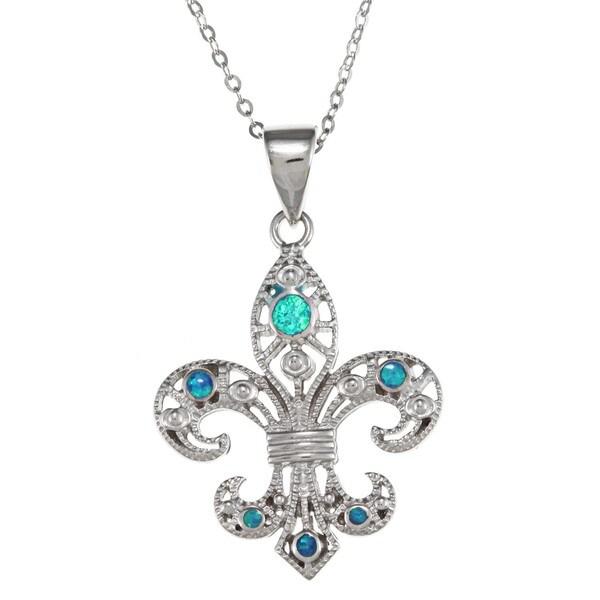 La Preciosa Sterling Silver Created Blue Opal Fleur de Lis Necklace