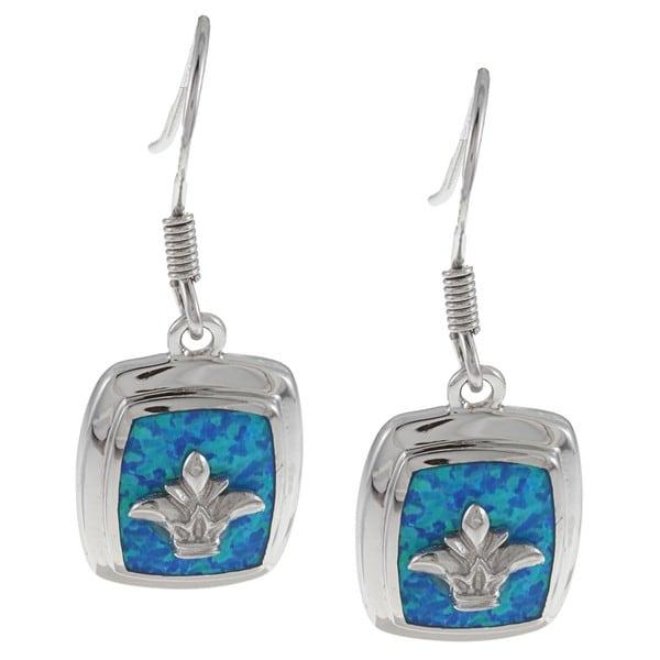 La Preciosa Sterling Silver Created Blue Opal Fleur de Lis Earrings