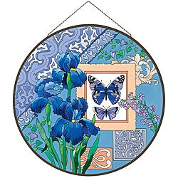 Joan Baker Hand-painted Blue Butterflies & Irises Art Panel