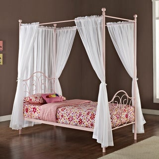 Pink Metal Twin-size Canopy Bed with Curtains